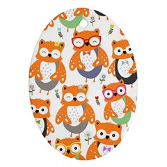 Cute Colorful Owl Cartoon Seamless Pattern Ornament (oval)