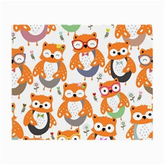 Cute Colorful Owl Cartoon Seamless Pattern Small Glasses Cloth