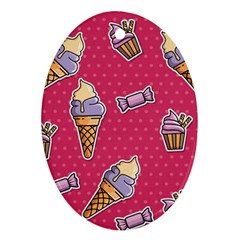 Seamless Pattern Patches With Ice Cream Ornament (oval)
