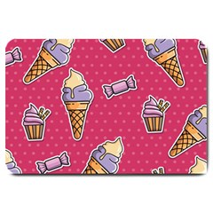 Seamless Pattern Patches With Ice Cream Large Doormat