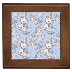 Pattern With Cute Unicorns Framed Tile