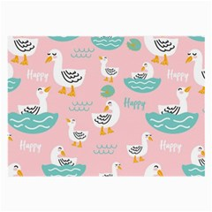 Cute Happy Duck Gift Card Design Seamless Pattern Template Large Glasses Cloth