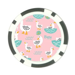 Cute Happy Duck Gift Card Design Seamless Pattern Template Poker Chip Card Guard
