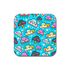 Cloud Seamless Pattern Rubber Square Coaster (4 Pack)