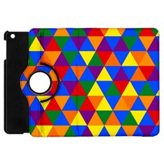 Gay Pride Alternating Rainbow Triangle Pattern Apple Ipad Mini Flip 360 Case by VernenInkPride