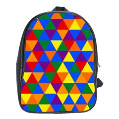 Gay Pride Alternating Rainbow Triangle Pattern School Bag (xl)