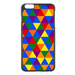 Gay Pride Alternating Rainbow Triangle Pattern Iphone 6 Plus/6s Plus Black Enamel Case by VernenInkPride
