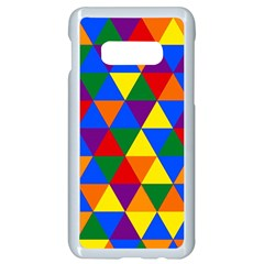 Gay Pride Alternating Rainbow Triangle Pattern Samsung Galaxy S10e Seamless Case (white)