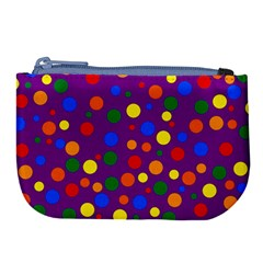 Gay Pride Rainbow Multicolor Dots Large Coin Purse by VernenInkPride