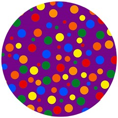 Gay Pride Rainbow Multicolor Dots Wooden Puzzle Round by VernenInkPride