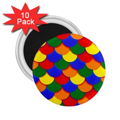 Gay Pride Scalloped Scale Pattern 2 25  Magnets (10 Pack)
