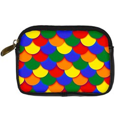 Gay Pride Scalloped Scale Pattern Digital Camera Leather Case by VernenInkPride