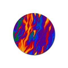 Gay Pride Abstract Smokey Shapes Rubber Coaster (round)  by VernenInkPride