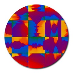 Gay Pride Rainbow Painted Abstract Squares Pattern Round Mousepads by VernenInkPride