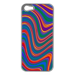 Gay Pride Rainbow Wavy Thin Layered Stripes Iphone 5 Case (silver) by VernenInkPride