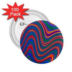 Gay Pride Rainbow Wavy Thin Layered Stripes 2 25  Buttons (100 Pack)  by VernenInkPride