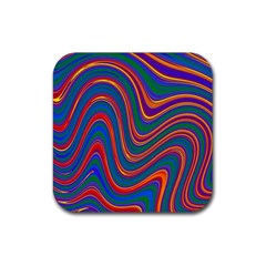 Gay Pride Rainbow Wavy Thin Layered Stripes Rubber Square Coaster (4 Pack)  by VernenInkPride