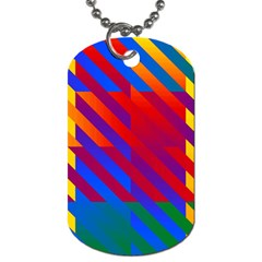 Gay Pride Rainbow Diagonal Striped Checkered Squares Dog Tag (one Side) by VernenInkPride