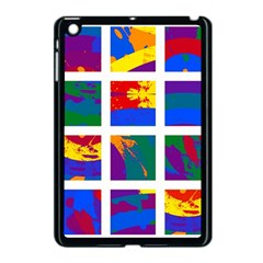Gay Pride Rainbow Abstract Painted Squares Grid Apple Ipad Mini Case (black) by VernenInkPride