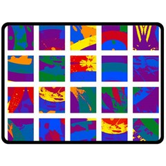 Gay Pride Rainbow Abstract Painted Squares Grid Fleece Blanket (large)
