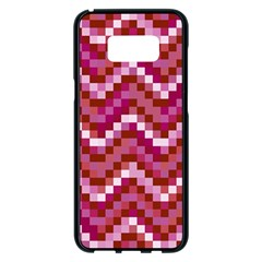 Lesbian Pride Pixellated Zigzag Stripes Samsung Galaxy S8 Plus Black Seamless Case by VernenInkPride