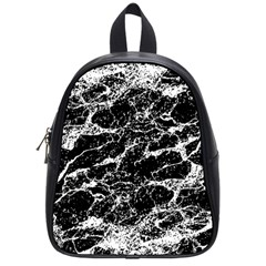 Black And White Abstract Textured Print School Bag (small)