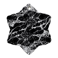 Black And White Abstract Textured Print Snowflake Ornament (two Sides)