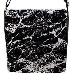 Black And White Abstract Textured Print Flap Closure Messenger Bag (s)