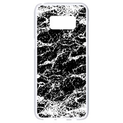 Black And White Abstract Textured Print Samsung Galaxy S8 White Seamless Case