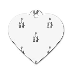 Love Symbol Drawing Dog Tag Heart (two Sides)