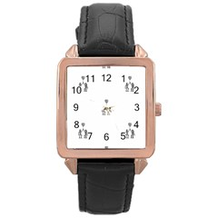 Love Symbol Drawing Rose Gold Leather Watch