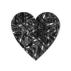 Black And White Intricate Geometric Print Heart Magnet by dflcprintsclothing
