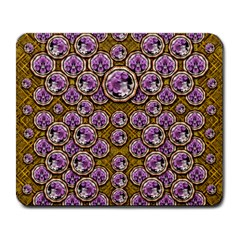 Gold Plates With Magic Flowers Raining Down Large Mousepads by pepitasart
