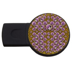Gold Plates With Magic Flowers Raining Down Usb Flash Drive Round (2 Gb) by pepitasart