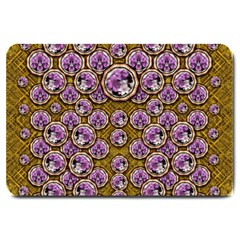 Gold Plates With Magic Flowers Raining Down Large Doormat  by pepitasart