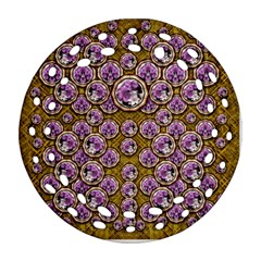 Gold Plates With Magic Flowers Raining Down Ornament (round Filigree) by pepitasart