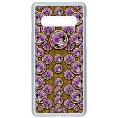 Gold Plates With Magic Flowers Raining Down Samsung Galaxy S10 Seamless Case(white) by pepitasart