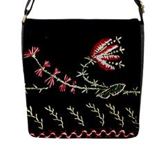 Peace Flower Flap Closure Messenger Bag (l)