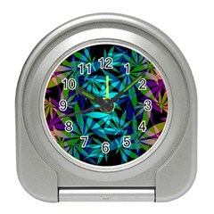 420 Ganja Pattern, Weed Leafs, Marihujana In Colors Travel Alarm Clock