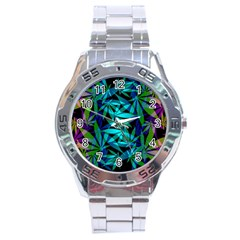 420 Ganja Pattern, Weed Leafs, Marihujana In Colors Stainless Steel Analogue Watch