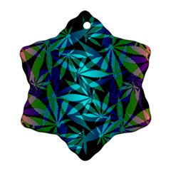 420 Ganja Pattern, Weed Leafs, Marihujana In Colors Snowflake Ornament (two Sides)