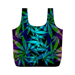 420 Ganja Pattern, Weed Leafs, Marihujana In Colors Full Print Recycle Bag (m)