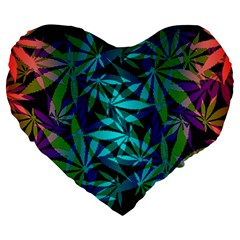 420 Ganja Pattern, Weed Leafs, Marihujana In Colors Large 19  Premium Flano Heart Shape Cushions