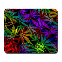 Ganja In Rainbow Colors, Weed Pattern, Marihujana Theme Large Mousepads