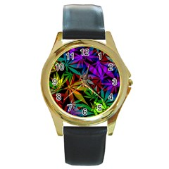 Ganja In Rainbow Colors, Weed Pattern, Marihujana Theme Round Gold Metal Watch