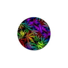 Ganja In Rainbow Colors, Weed Pattern, Marihujana Theme Golf Ball Marker (10 Pack)
