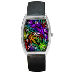 Ganja In Rainbow Colors, Weed Pattern, Marihujana Theme Barrel Style Metal Watch