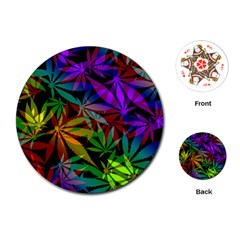 Ganja In Rainbow Colors, Weed Pattern, Marihujana Theme Playing Cards Single Design (round)