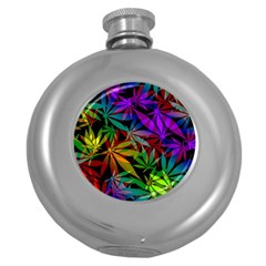 Ganja In Rainbow Colors, Weed Pattern, Marihujana Theme Round Hip Flask (5 Oz)