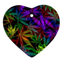 Ganja In Rainbow Colors, Weed Pattern, Marihujana Theme Heart Ornament (two Sides)